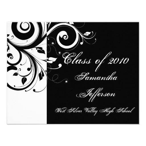 Personalized feminine graduation invitations custominvitations4u any year luxury blackwhite swirl graduation personalized announcement filmwisefo Choice Image