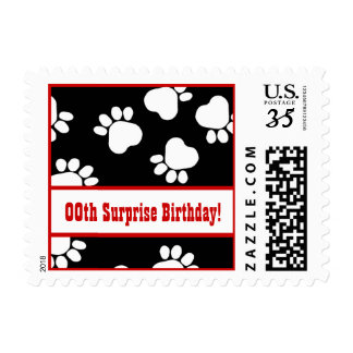 Any Year PAW PRINTS Surprise Birthday Party V06 Postage