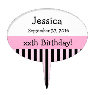 ANY YEAR Personalize Birthday Stripes V02 Cake Topper