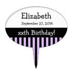ANY YEAR Personalize Birthday Stripes V08 Cake Toppers