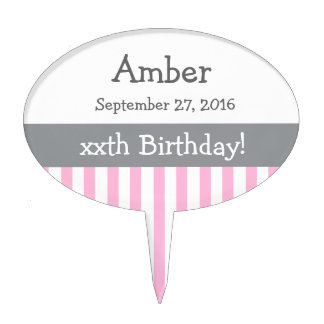 ANY YEAR Personalize Birthday Stripes V10 PINK Cake Toppers
