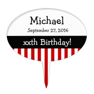 ANY YEAR Personalize Birthday Stripes V11A RED Cake Topper