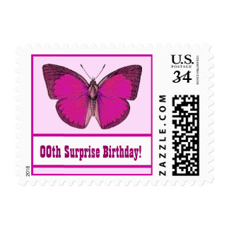 Any Year PINK BUTTERFLY Surprise Birthday Party V6 Postage