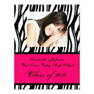 Any Year ~ Pink Zebra Photo Graduation Invitation