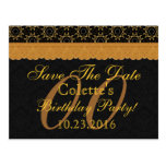 Any Year Save the Date Birthday Gold Black Lace 08 Post Card