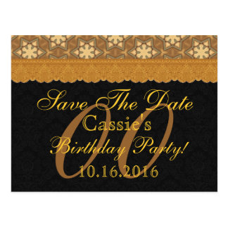 Any Year Save the Date Birthday Gold Black Lace Postcard