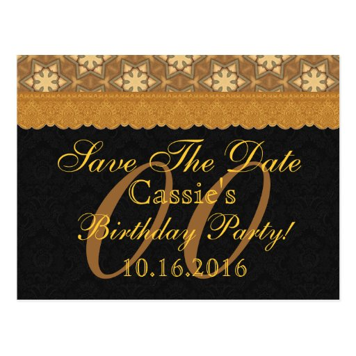 Any Year Save the Date Birthday Gold Black Lace Post Card
