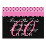 Any Year Save the Date Birthday Pink Black v16 Post Card
