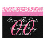 Any Year Save the Date Birthday Pink Black v16J Post Cards