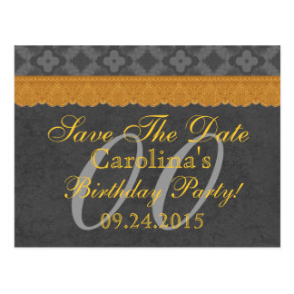 Any Year Save the Date Birthday Silver Gold v13 Postcard