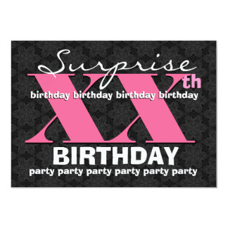 "Any Year  SUPRISE Birthday Party Pink Black E32 5"" X 7"" Invitation Card"