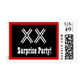 Any Year Surprise Birthday Big Black White Red 4 Postage