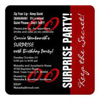 Any Year SURPRISE Birthday Black Red Metallic Card
