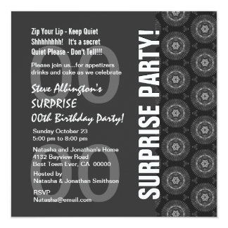 """Any Year Surprise Birthday Charcoal and White Q120 5.25"""" Square Invitation Card"""