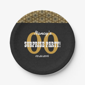 Any Year SURPRISE BIRTHDAY For Her Black Gold Z06 Paper Plate