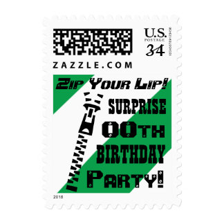 Any Year SURPRISE Birthday Funny Zip Your Lip! V07 Postage