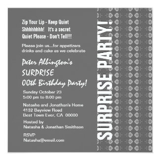 """Any Year Surprise Birthday Gray and White Q118 5.25"""" Square Invitation Card"""