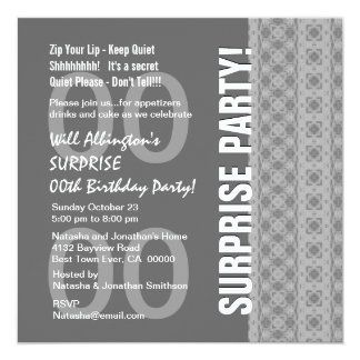 """Any Year Surprise Birthday Gray and White Q123 5.25"""" Square Invitation Card"""
