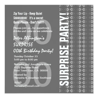 """Any Year Surprise Birthday Gray and White Q140 5.25"""" Square Invitation Card"""
