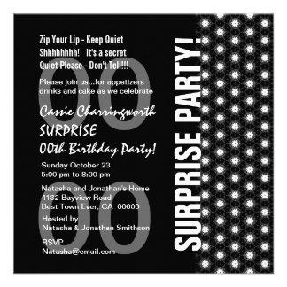 Any Year Surprise Birthday Modern Black White Gray Personalized Invitation