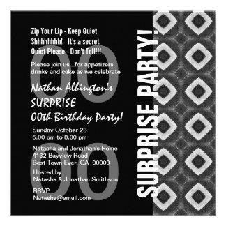 Any Year Surprise Birthday Modern Black White Gray Custom Announcements