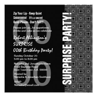 Any Year Surprise Birthday Modern Black White Gray Custom Invitations