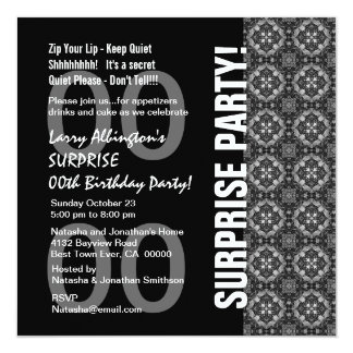 "Any Year Surprise Birthday Modern Black White Q115 5.25"" Square Invitation Card"