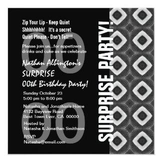 "Any Year Surprise Birthday Modern Black White Q117 5.25"" Square Invitation Card"
