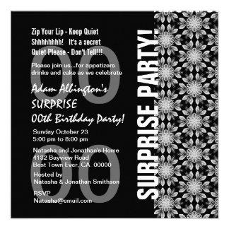 Any Year Surprise Birthday Modern Black WhiteW1760 Invites