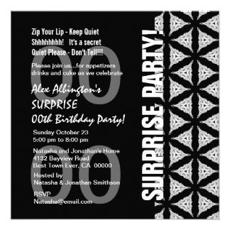Any Year Surprise Birthday Modern Black WhiteW1761 Custom Invites