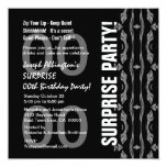 Any Year Surprise Birthday Modern Black WhiteW1765 5.25x5.25 Square Paper Invitation Card