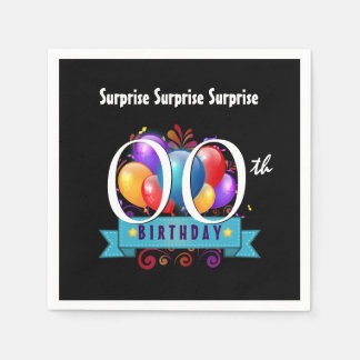 Any Year SURPRISE Birthday Party Balloons B0Z Paper Napkin