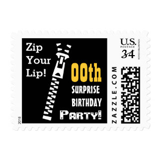 Any Year SURPRISE Birthday Party Zip Your Lip! V03 Postage Stamp
