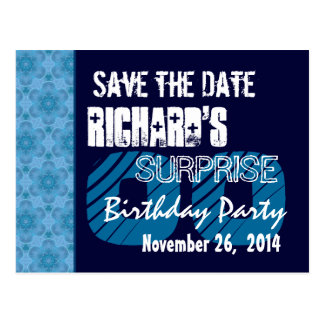 Any Year Surprise Birthday Save the Date Blue Postcard