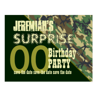 Any Year Surprise Birthday Save the Date Camo Postcard