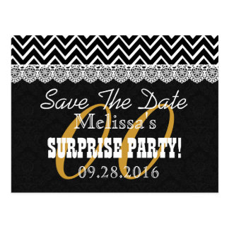 Any Year Surprise Party Black White Chevrons A01 Postcard
