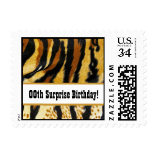 Any Year TIGER Surprise Birthday Party V02 Postage