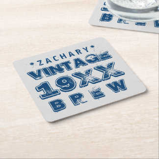 Any Year VINTAGE BREW Grunge Text A02 Square Paper Coaster