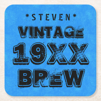 Any Year VINTAGE BREW Grunge Text Blue G11Z5 Square Paper Coaster