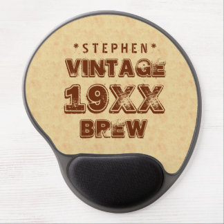 Any Year VINTAGE BREW Grunge Text Gold G11Z1 Gel Mouse Pad