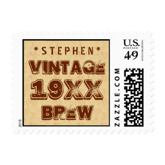 Any Year VINTAGE BREW Grunge Text Gold G11Z1 Postage