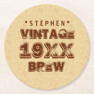 Any Year VINTAGE BREW Grunge Text Gold G11Z1 Round Paper Coaster
