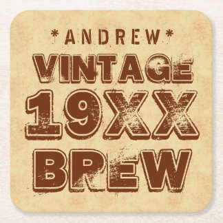 Any Year VINTAGE BREW Grunge Text Gold G11Z2 Square Paper Coaster