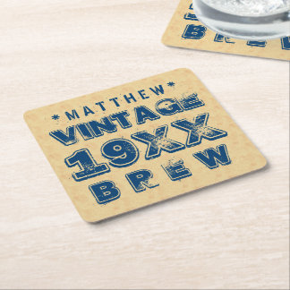 Any Year VINTAGE BREW Grunge Text Gold G11Z Square Paper Coaster