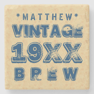 Any Year VINTAGE BREW Grunge Text Gold G11Z Stone Coaster