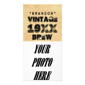 Any Year VINTAGE BREW Grunge Text Gold Z01 Photo Card