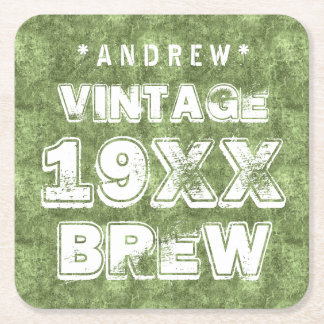 Any Year VINTAGE BREW Grunge Text Green G11Z7 Square Paper Coaster