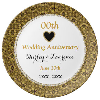 Any Year Wedding Anniversary Gold Damask Lace A14 Plate