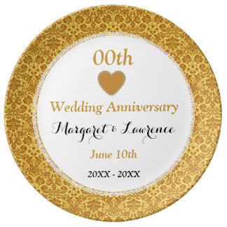 Any Year Wedding Anniversary Gold Damask Lace A15 Porcelain Plates