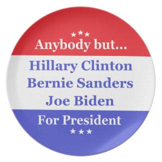 Anybody but Hillary, biden,sanders Melamine Plate